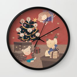 Red Christmas with bears Wall Clock