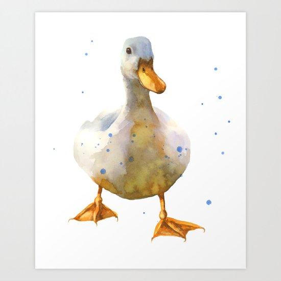 DUCK Print, duck, nursery animal art, barnyard animals, fowl ,bird art, feathers, quack Art Print