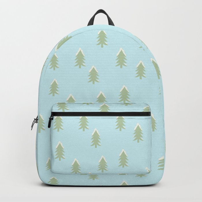 Merry christmas- With snow covered x-mas trees pattern on aqua background Backpack
