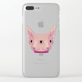 Two-Faced Sphynx From Outer Space Clear iPhone Case
