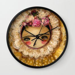 Frida In A Brown And Green Tehuana Mexican Traditional Dress Wall Clock