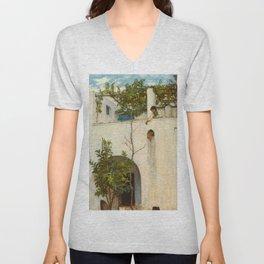 "John William Waterhouse ""Lady on a Balcony, Capri"" Unisex V-Neck"