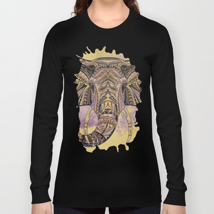 Grunge Ethnic Elephant Long Sleeve T-shirt