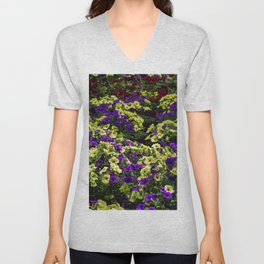 Waves of Petunias Unisex V-Neck