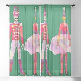 Nutcracker Ballet - Candy Cane Green Sheer Curtain