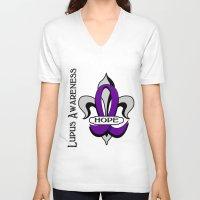 fleur de lis V-neck T-shirts featuring Fleur de lis lupus hope by anto harjo