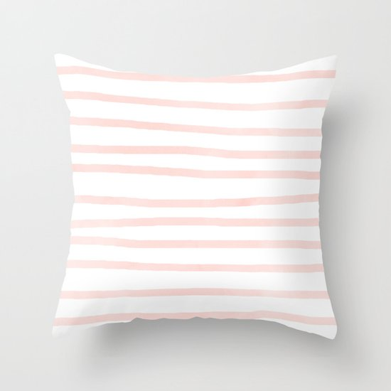 Seashell Pink Watercolor Stripes Throw Pillow