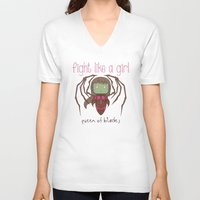 starcraft V-neck T-shirts featuring Fight Like a Girl - Starcraft's Infested Kerrigan by ~ isa ~