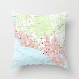 Vintage Map of Panama City Florida (1956) Throw Pillow