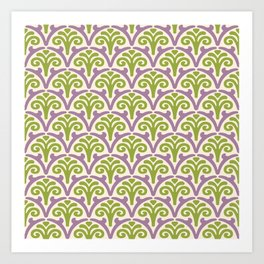 Floral Scallop Pattern Lavender and Chartreuse Art Print