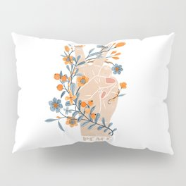 Peace Sign With Orange Flowers, Blue Flowers And Vines Pillow Sham