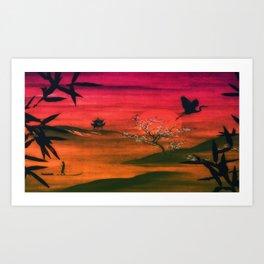 Oriental Sunset Art Print