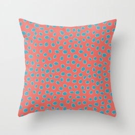 Living Coral and Turquoise, Teal Polka Dots Throw Pillow