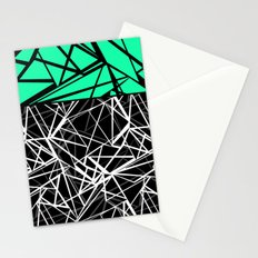 Black and white abstract geometric pattern with green insert . Stationery Cards