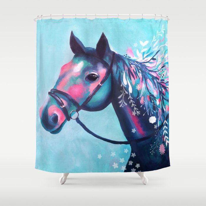Horse With Floral Mane Shower Curtain