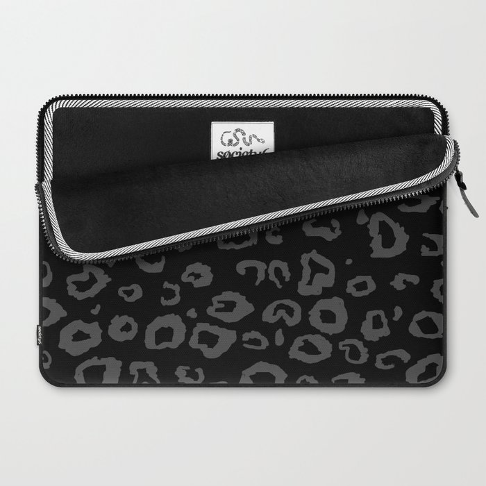 Black and Gray Leopard Laptop Sleeve