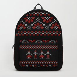 Traditional Romanian white & red cross-stitch people on black Backpack