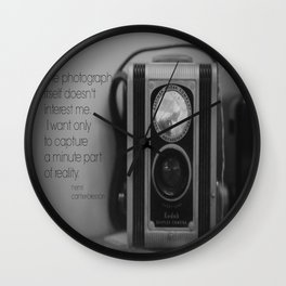 Photography Quote Henri Cartier-Bresson Wall Clock