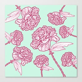 Barbed Wire Peony Floral in Coral Pink & Aqua Canvas Print
