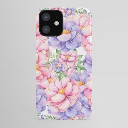 Blush pink lilac watercolor modern roses floral iPhone Case