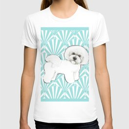 Bichon Frise at the beach / seashell blue T-shirt