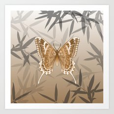 Beautiful Copper Butterfly Design Art Print