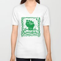 cannabis V-neck T-shirts featuring Yes We Cannabis by ART to GO Sasso