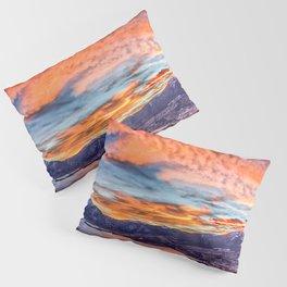 Sunset Pano // Beautiful Rocky Mountain Lake View Colorado Red Orange Sky Pillow Sham