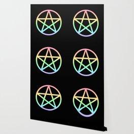 Rainbow Pentacle on Black Wallpaper