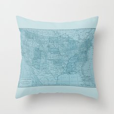 Vintage America in Blue Throw Pillow