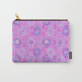 Lotus flower - rich rose woodblock print style pattern Carry-All Pouch