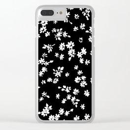 Fashion Floral design Black&White print Clear iPhone Case