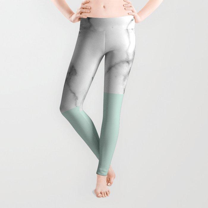 Real White marble Half pastel Mint Green Leggings