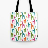 giraffes Tote Bags featuring Giraffes by ts55