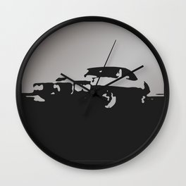 Pontiac Firebird, Gray on Black Wall Clock
