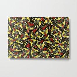 tiger swallowtail pattern graphic red Metal Print