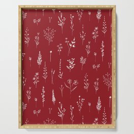 Red Wildflowers Serving Tray