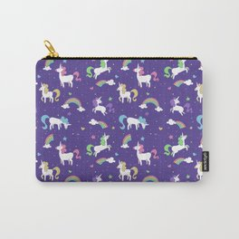 Unicorns and Rainbows - purple -tiny Carry-All Pouch