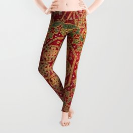 Bohemian Medallion VII // 15th Century Old Distressed Red Green Coloful Ornate Accent Rug Pattern Leggings