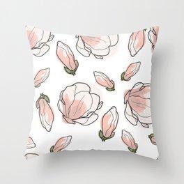 Magnolia-tree seamless background Throw Pillow