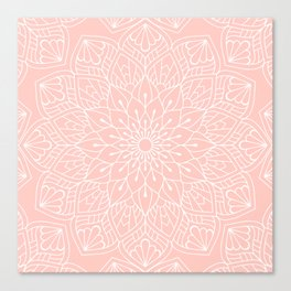 White Mandala Pattern on Rose Pink Canvas Print