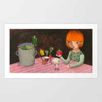 cooking Art Prints featuring Cooking by Valeria Cis