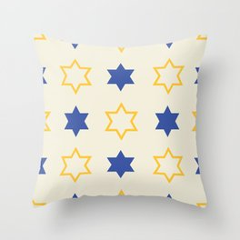Star of David Yellow and  Blue on Cream background Throw Pillow
