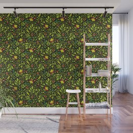 Lime, Dark Green, Red, Black & Yellow Floral Pattern Wall Mural