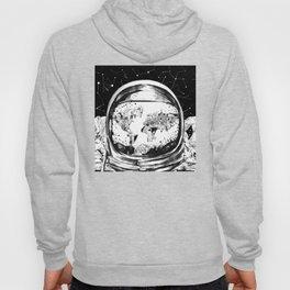 astronaut world map black and white 1 Hoody