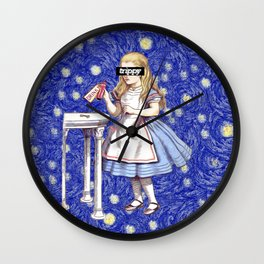 Trippy Alice - Blue Wall Clock