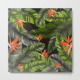 Exotic Leaves and Flowers Print Metal Print