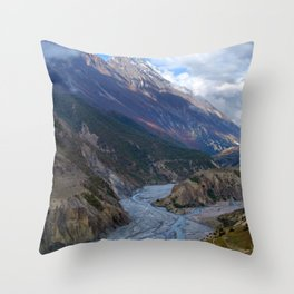 River and Clouds near Manang Throw Pillow