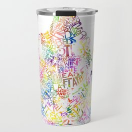 Typographic Brooklyn - Multi Color Watercolor map art Travel Mug