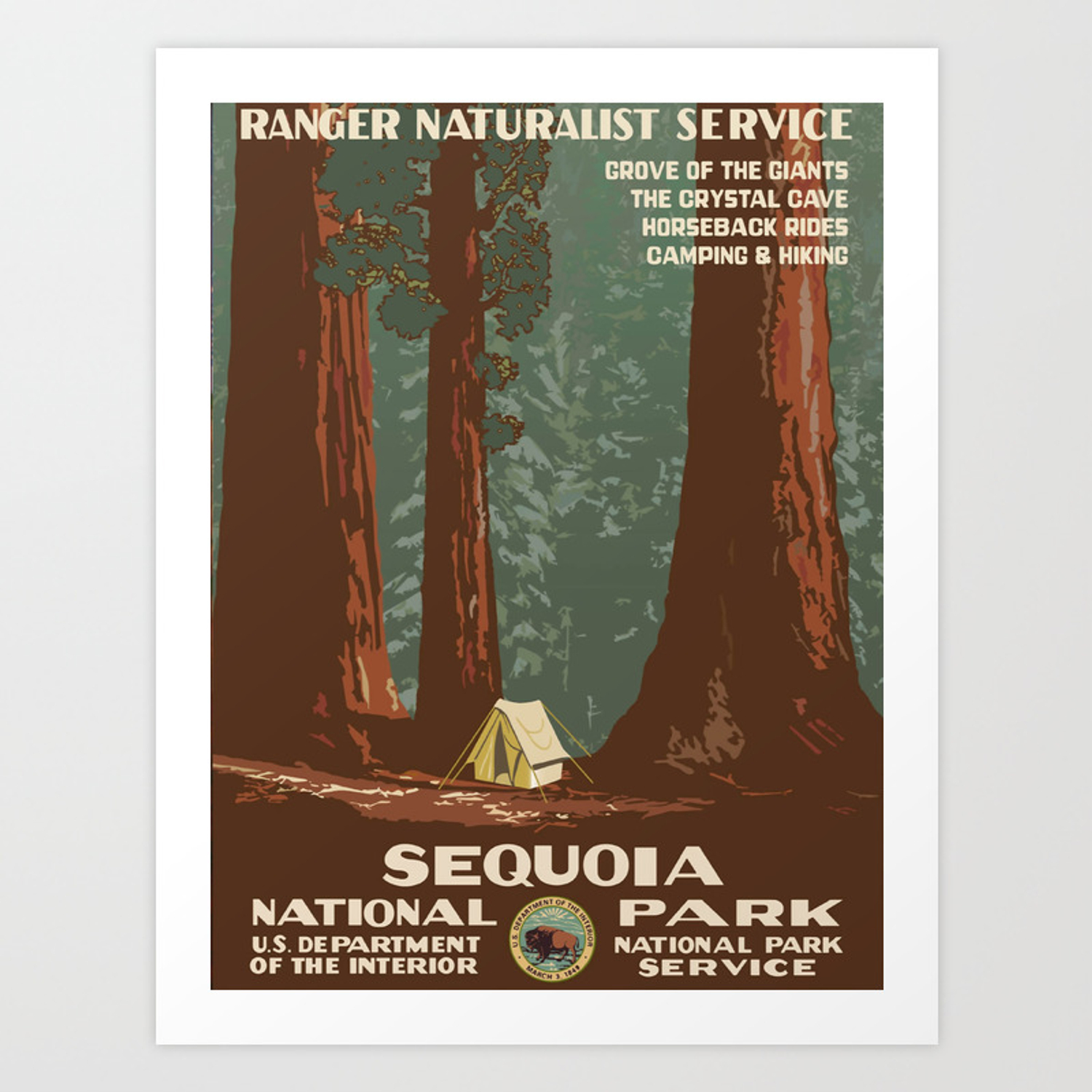 Sequoia National Park Wpa Vintage Poster Art Print By Bestvintageposters Society6